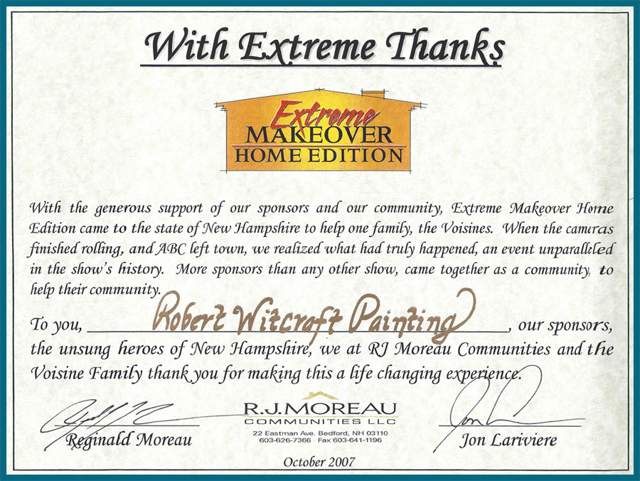Extreme Home Makeover Certificate Witcraft Painting