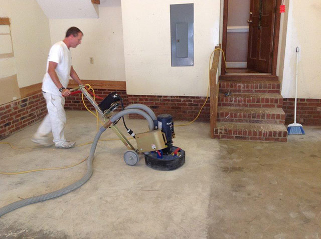 Diamond Grinding A Garage Floor In North Raleigh Nc