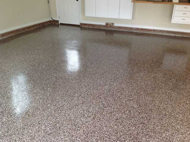 granite garage floor in cary nc - full flake broadcast | witcraft