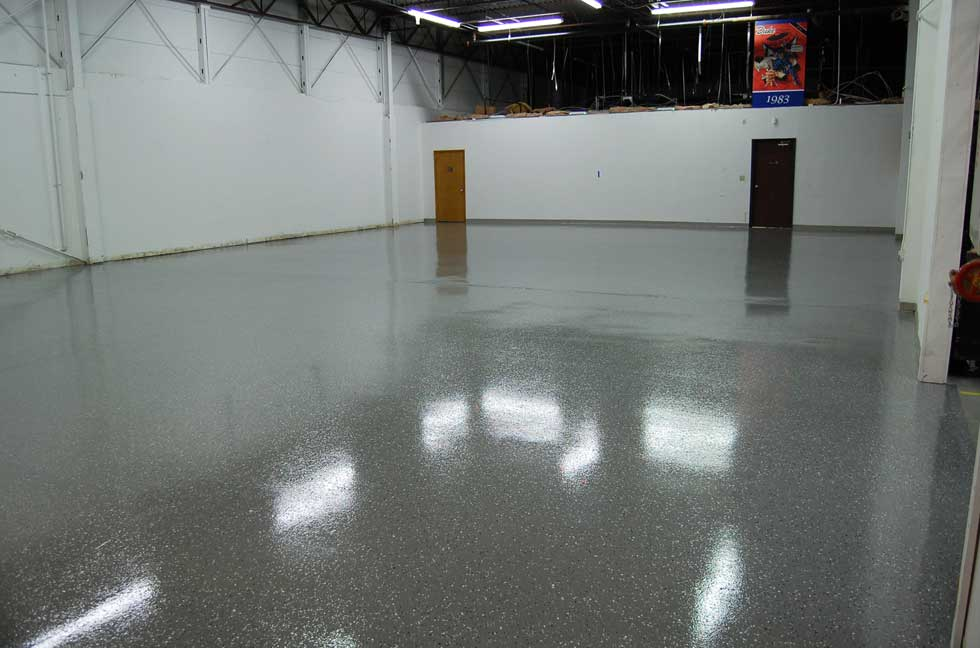 Dark Gray Epoxy Floor With Black Marble Flakes Warehouse