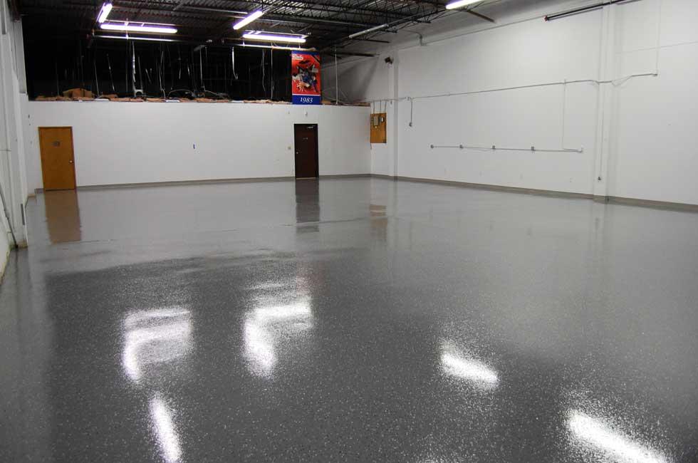 Dark Gray Epoxy Floor With Black Marble Flakes Warehouse