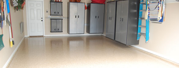 desert tan epoxy floor with flakes morrisville nc