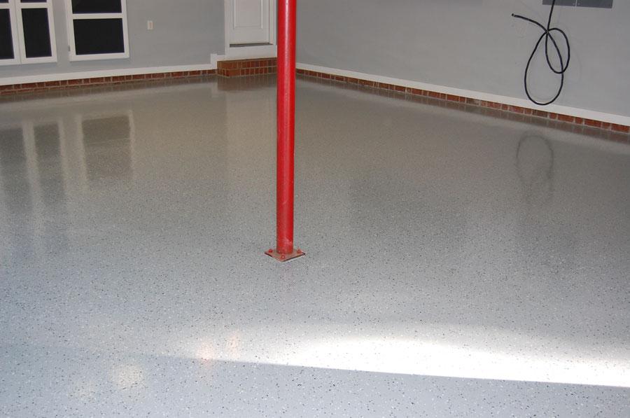 Medium Gray Epoxy Floors With Black Marble Flakes Garage