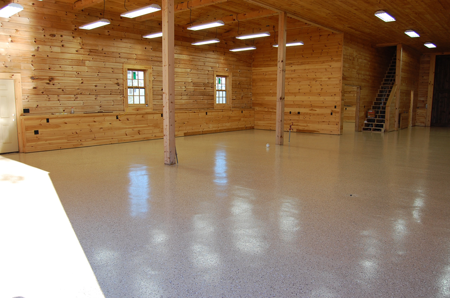 Desert Tan Epoxy Floor With Earthtone Flakes By Witcraft