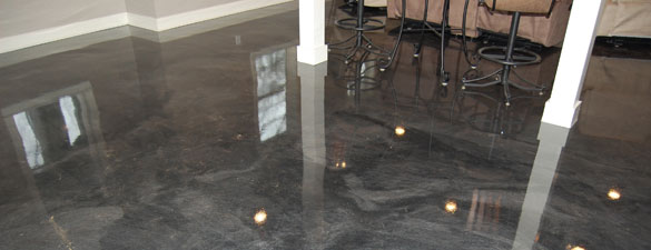 Basement Man Cave Metallic Epoxy Floor In Clayton