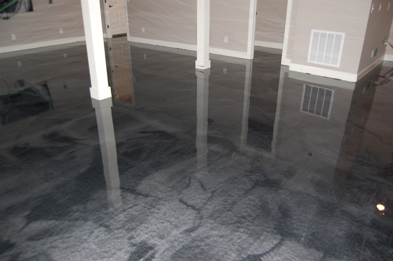 Man Cave Flooring : Basement man cave with metallic floor in clayton nc by