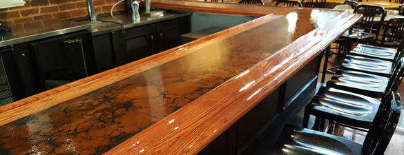 Copper metallic epoxy floor in apex nc by witcraft for Commercial bar flooring