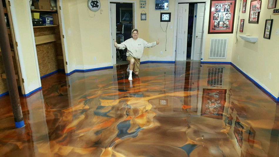 Tri Color Metallic Floor In North Raleigh Nc