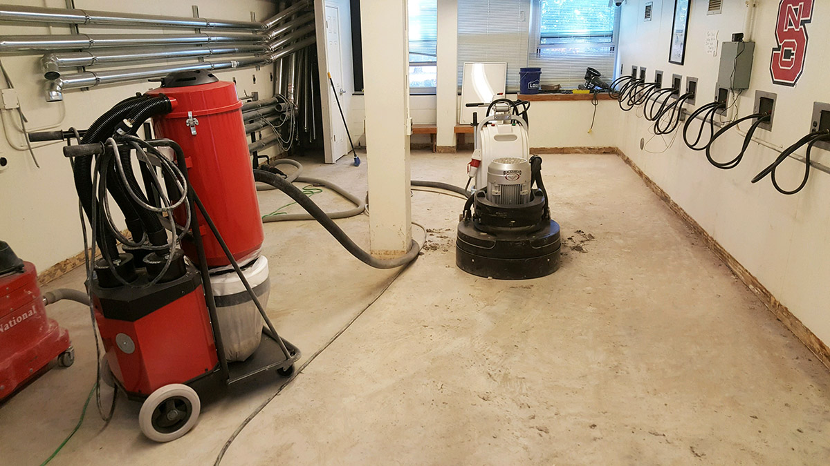 Nc state laundry room concrete floor refinishing project by witcraft 05 22 2017 nc state laundry commercial concrete dailygadgetfo Image collections